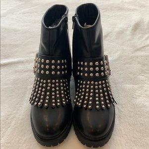 NEW black boots with silver studs